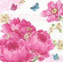 Салфетка декупажная Розовые пионы и бабочки 4907