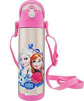 Термос детский с поилкой и шнурком на шею Disney 9030-500 500мл Frozen Розовый