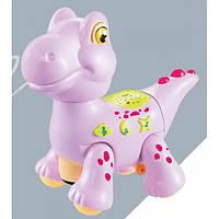 Игрушка Электронная Музыкальная Лед лампа Мультяшный динозаврик D Jin Shang Lu розовый