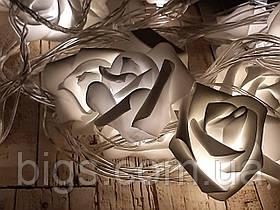 Светодиодная LED гирлянда розы белый теплый 12шт 5м