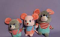 Мягкая игрушка Мышка музыкальная полосатик высота 15 см