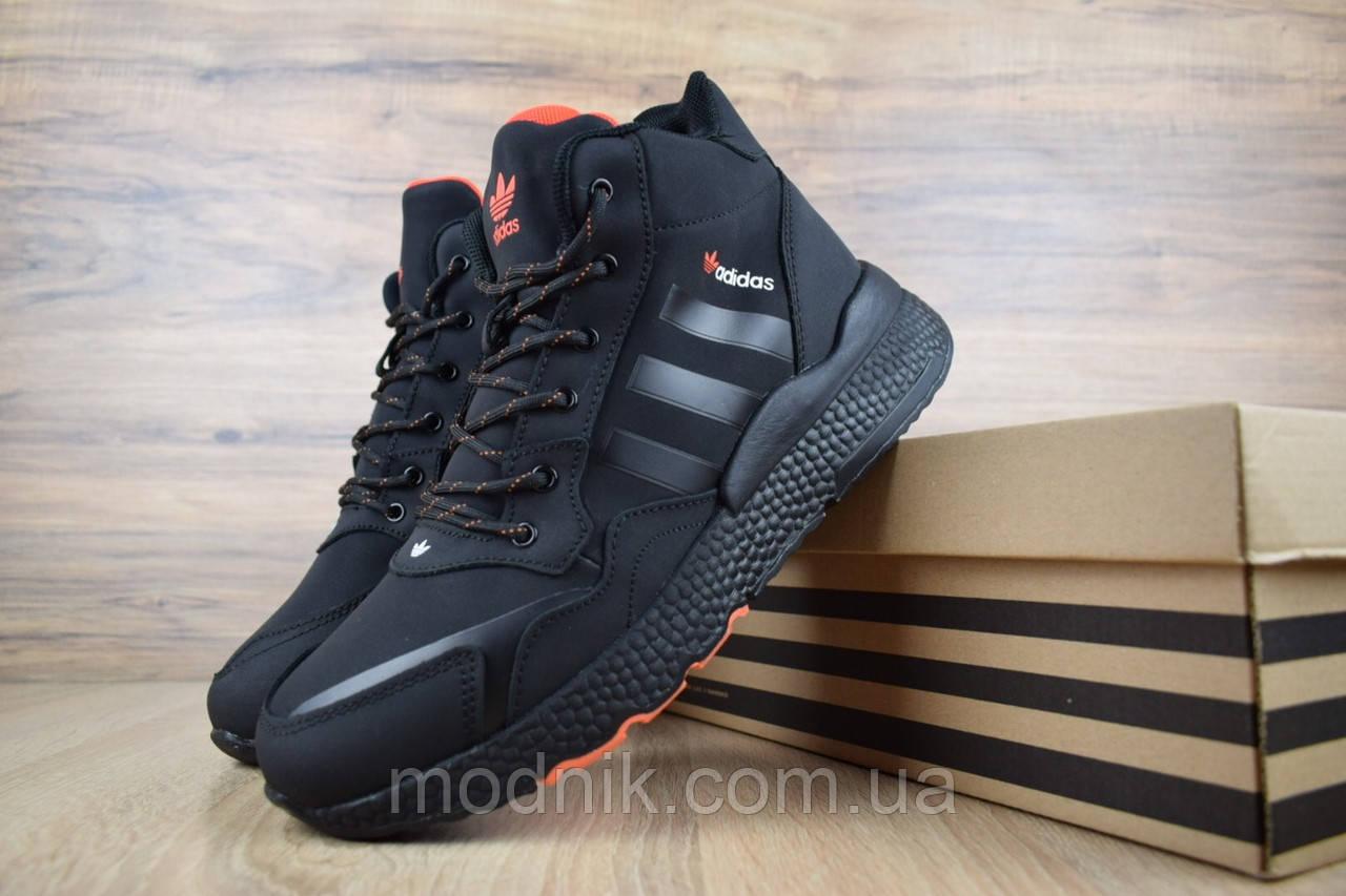 Мужские зимние кроссовки Adidas Jogger с мехом (черные с оранжевым)