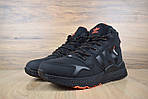 Мужские зимние кроссовки Adidas Jogger с мехом (черные с оранжевым), фото 2