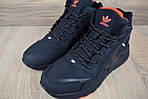 Мужские зимние кроссовки Adidas Jogger с мехом (черные с оранжевым), фото 3
