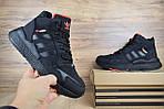 Мужские зимние кроссовки Adidas Jogger с мехом (черные с оранжевым), фото 5