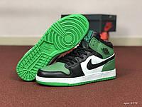 Мужские кроссовки Nike Air Jordan 1 Retro (зелено-белые)