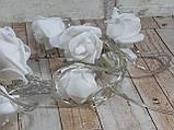 Светодиодная LED гирлянда розы белый холодный 12шт 5м, фото 3