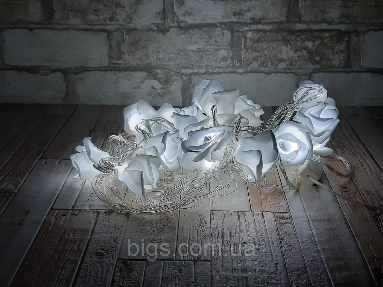 Светодиодная LED гирлянда розы белый холодный 12шт 5м