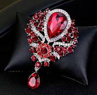 Брошь 8,4*5,6см с каплей цветком и подвеской красная, фото 1
