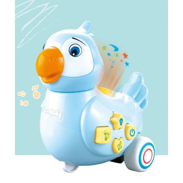 Игрушка Электронная Музыкальная Лед лампа Мультяшный попугай D Jin Shang Lu синий