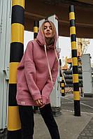 Женское теплое худи №101 (42-62) розовый