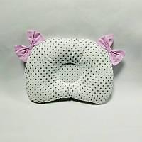 Ортопедическая подушка для новорожденного masterwork teddy bear аэропух 21*27 см. белая в горшек бант