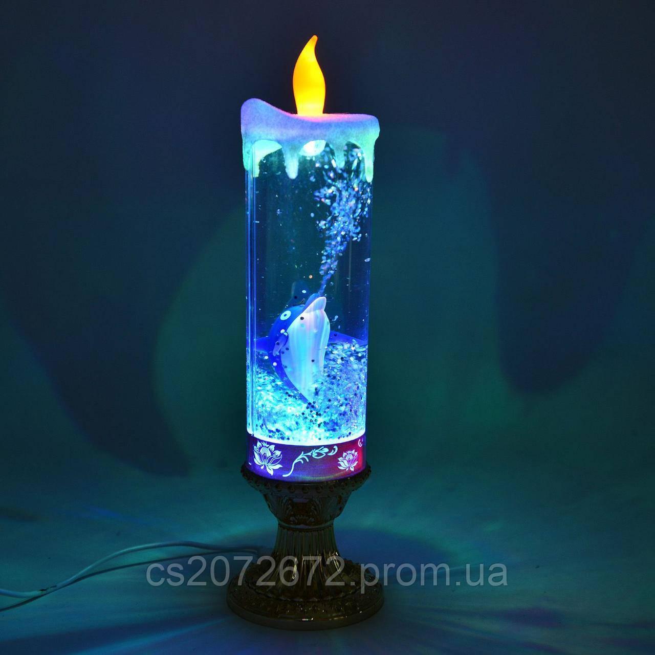 """Свеча """"дельфин"""" светодиодная колба стеклянная 27,5см с блестками внутри, на батарейках, usb-шнур"""
