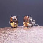 Серебряные серьги-пусеты (гвоздики) с натуральным султанитом, фото 2