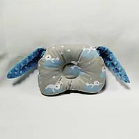 Ортопедическая подушка для младенца masterwork teddy bear аэропух 24*30 см. серая с голубым зая