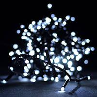 Гирлянда Нить Перламутр Линза LED 100 лампочек Белая Теплая, 700 см, черный провод (1291-07)