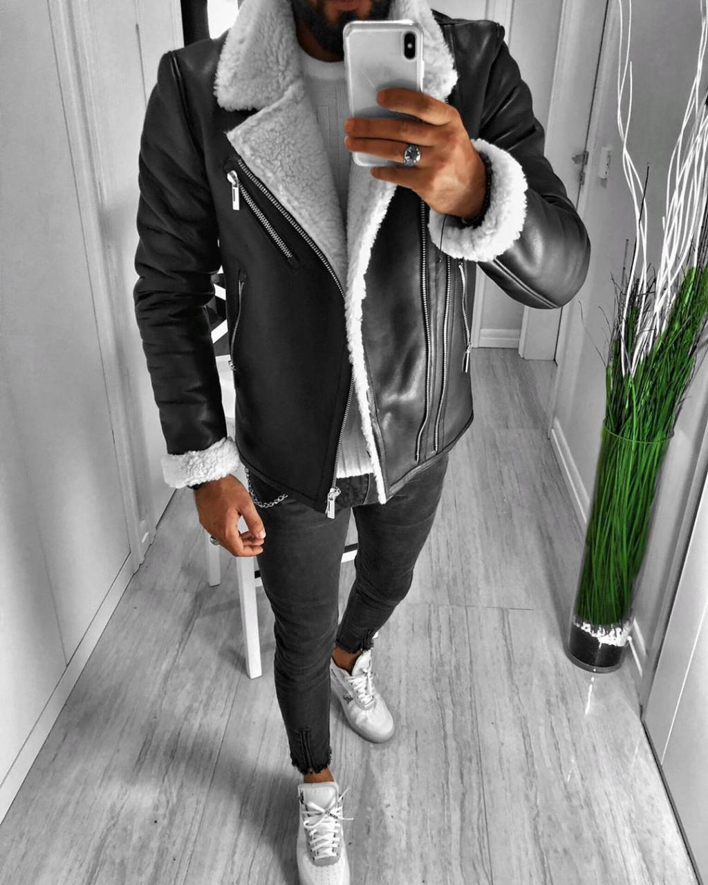 😜 Куртка - мужская зимняя куртка-кожанка на белом меху короткая