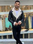 😜 Куртка - мужская зимняя куртка-кожанка на белом меху короткая, фото 3