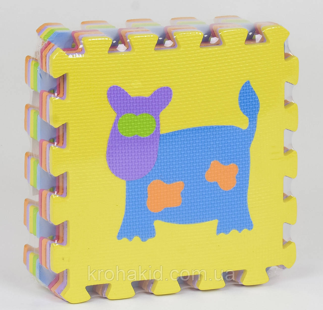 Дитячий EVA килимок-пазл для ігор на підлозі щільний з малюнком Тварини НКС006 (30*30 см, в упаковці 9 плит)