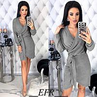 Женское платье серого цвета на запах из ангоры. Молодежное платье. Женская теплая одежда