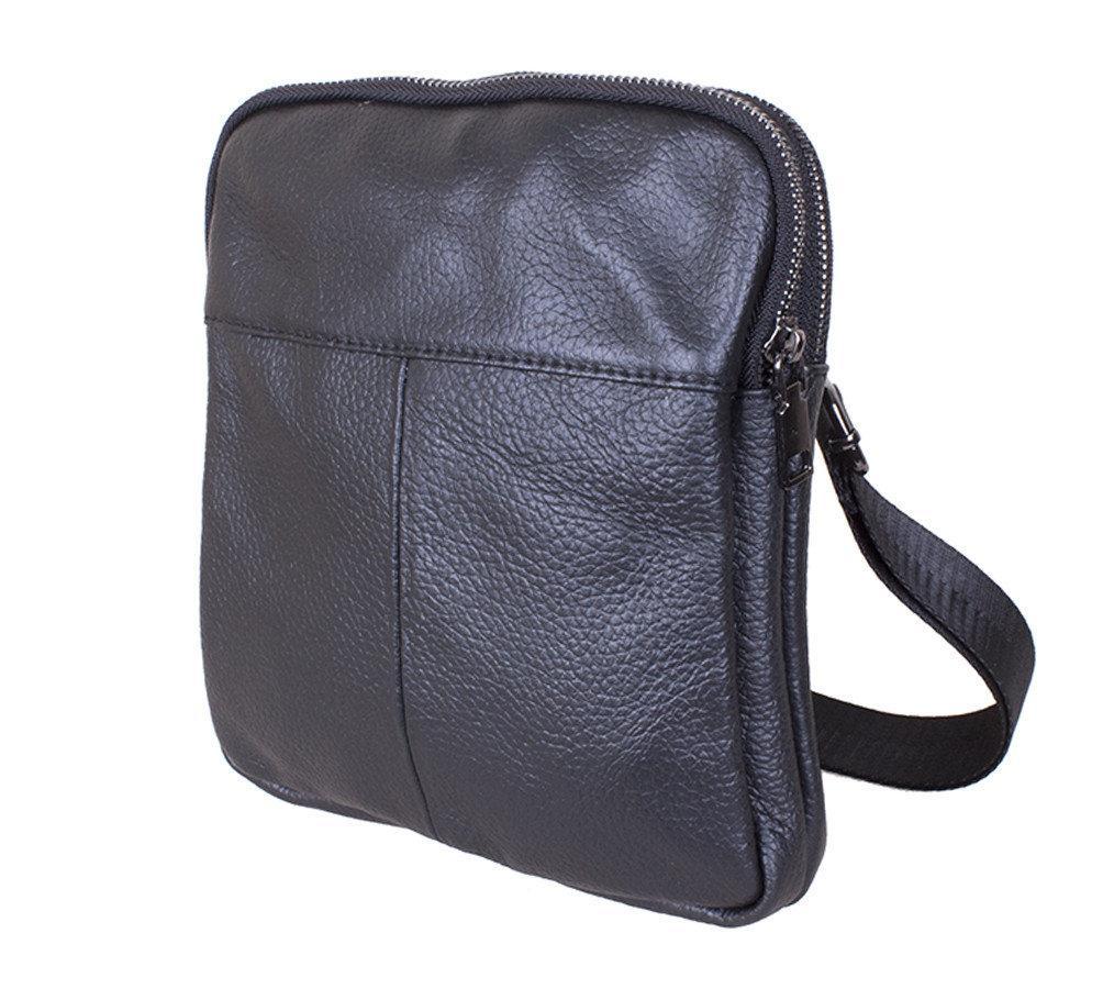 Мужская кожаная сумка 1923-1 Dovhani черная 22 х 19 х 3,5см