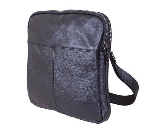 Мужская кожаная сумка 1923-1 Dovhani черная 22 х 19 х 3,5см, фото 2