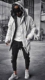 😜 Парка - Мужская зимняя парка белого цвета с мехом