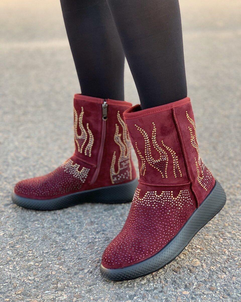 Ботинки женские зимние с супинатором 6 пар в ящике бордового цвета 36-41