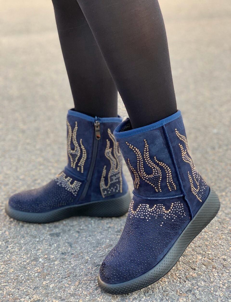 Ботинки женские зимние с супинатором 6 пар в ящике синего цвета 36-41