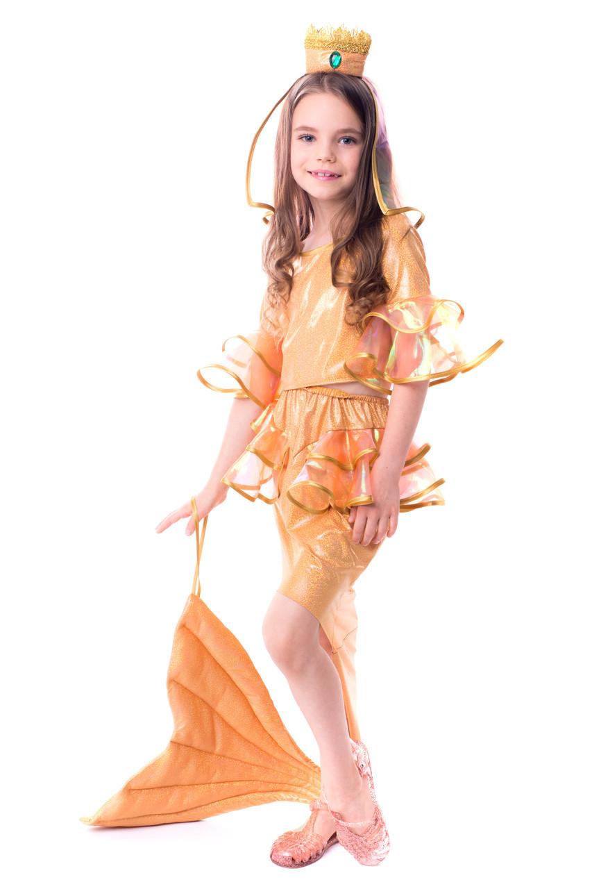 """Маскарадный детский костюм для девочки """" Золотая рыбка """""""
