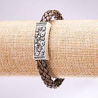 Браслет Черепа плетенка коричневый L-20см
