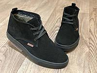 Зимние мужские ботинки  с мехом, чёрные, натуральный замш, размеры 40-45