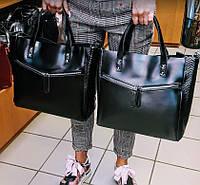 Женская сумка из натуральной кожи и замши черного цвета классика, фото 1