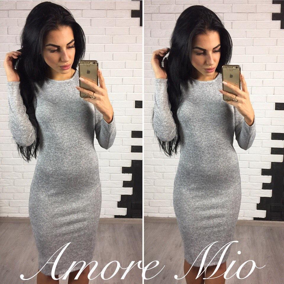 Ангоровое платье-футляр миди с длинным рукавом, 10 цветов 44, серое