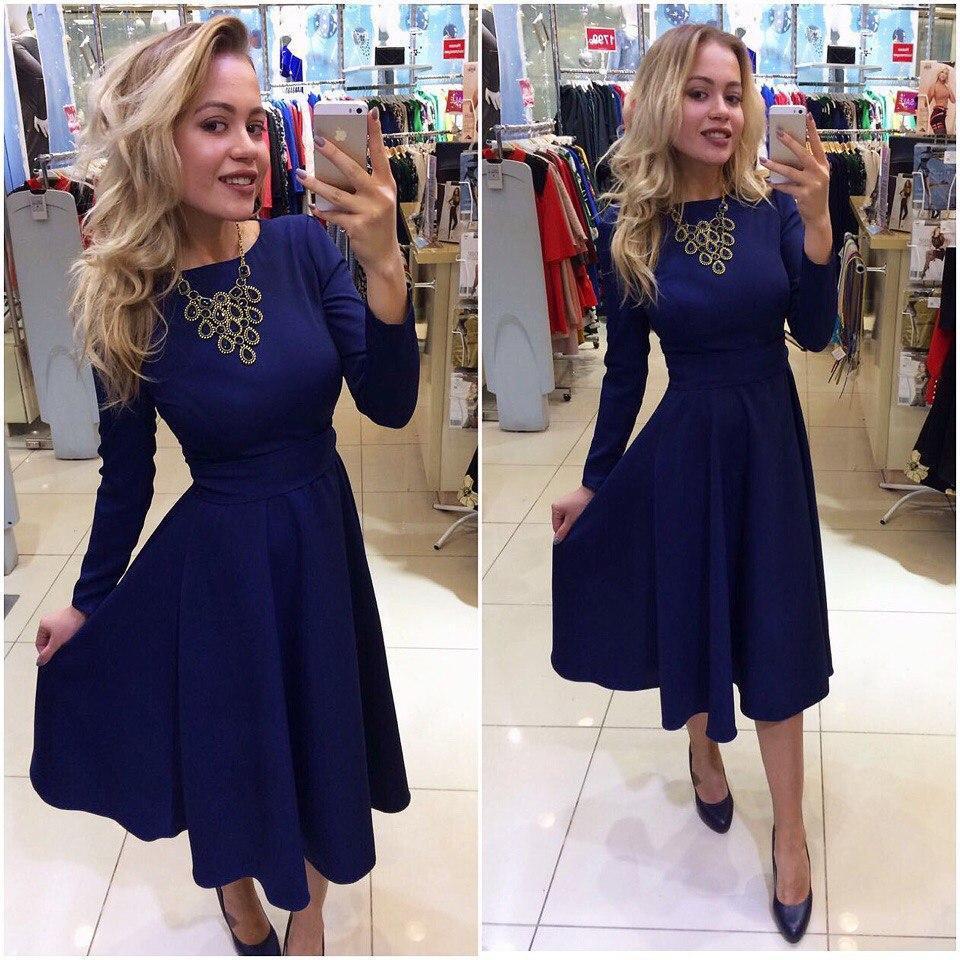 Стильное платье за колено, юбка-солнце, 5 цветов, с 40 по 46рр