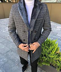 😜 Пальто - Мужское светло-серое пальто в клетку с меховым воротником