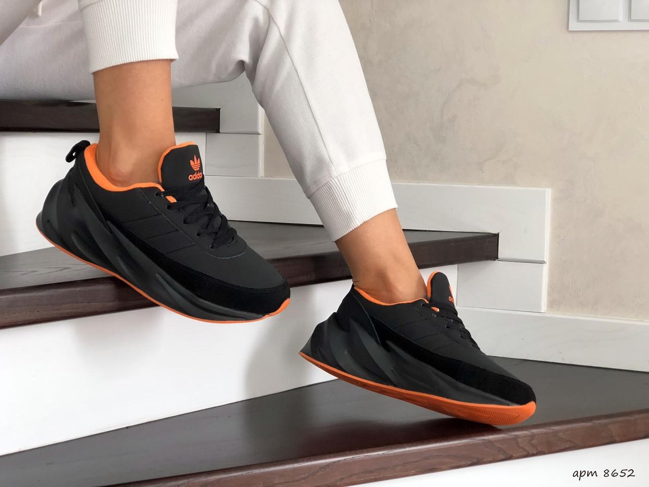Женские зимние кроссовки Adidas Sharks (черно-оранжевые)