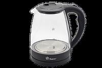 Электрочайник стекляный Domotec MS-8210 с подсветкой Черный