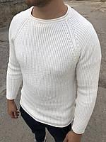 😜 Свитер - Мужской белый вязанный свитер на осень