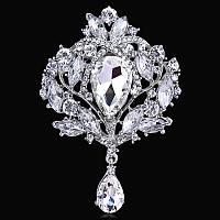 Брошь 9,8*6,5см винтажная с подвеской Crystal (кристалл прозрачная)