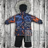 Детский р 86 1,5 2 года зимний термо комбинезон костюм куртка полукомбинезон штаны на флисе для мальчика 3269