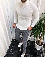 😜 Гольф- Мужской свитер белый шерсть+хлопок