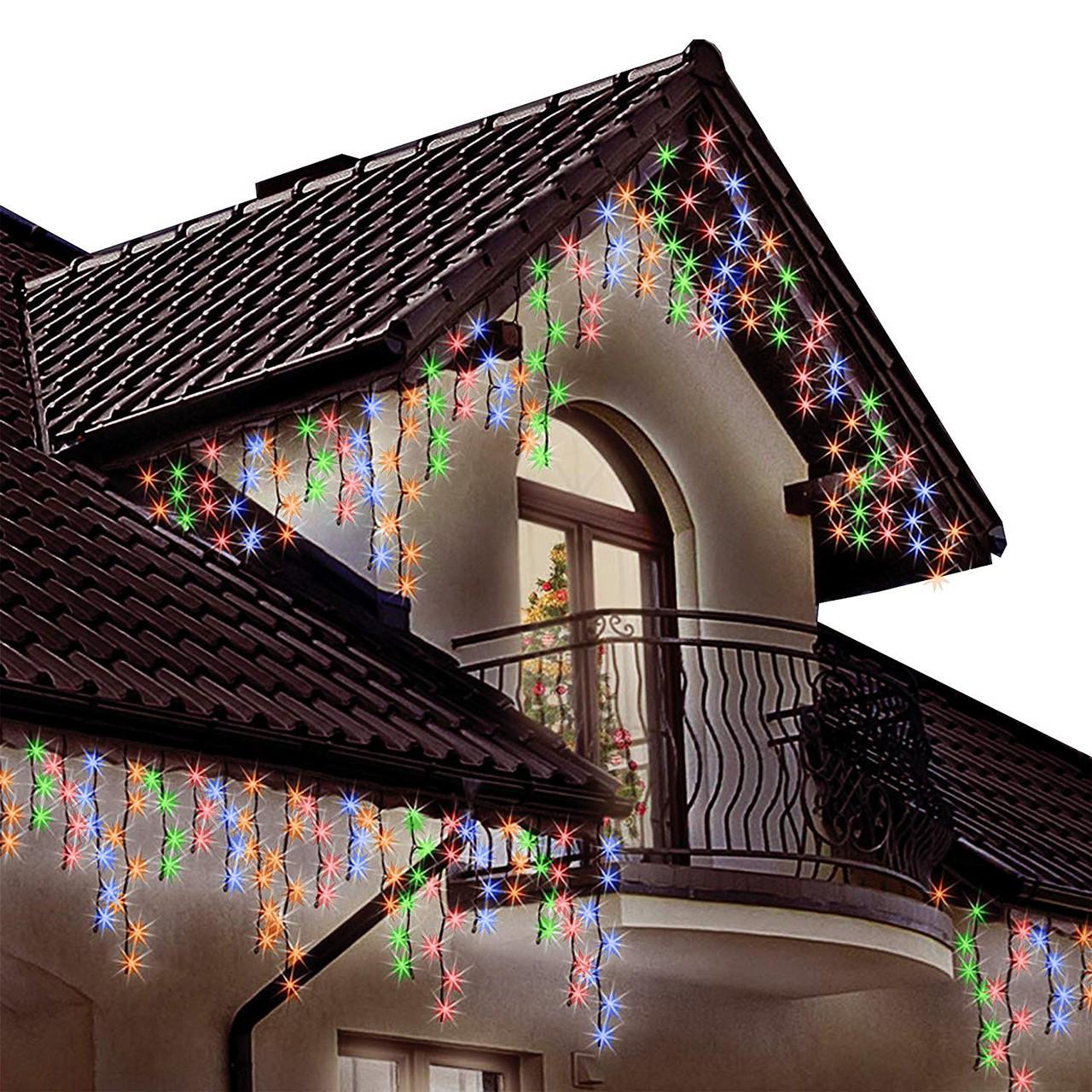 Гирлянда бахрома 3 x 0,6 м, уличная, с мерцанием, на черном каучуковом проводе 105 led цвет RGB