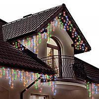 Гирлянда бахрома 3 x 0,6 м, уличная, с мерцанием, на черном каучуковом проводе 105 led цвет RGB, фото 1