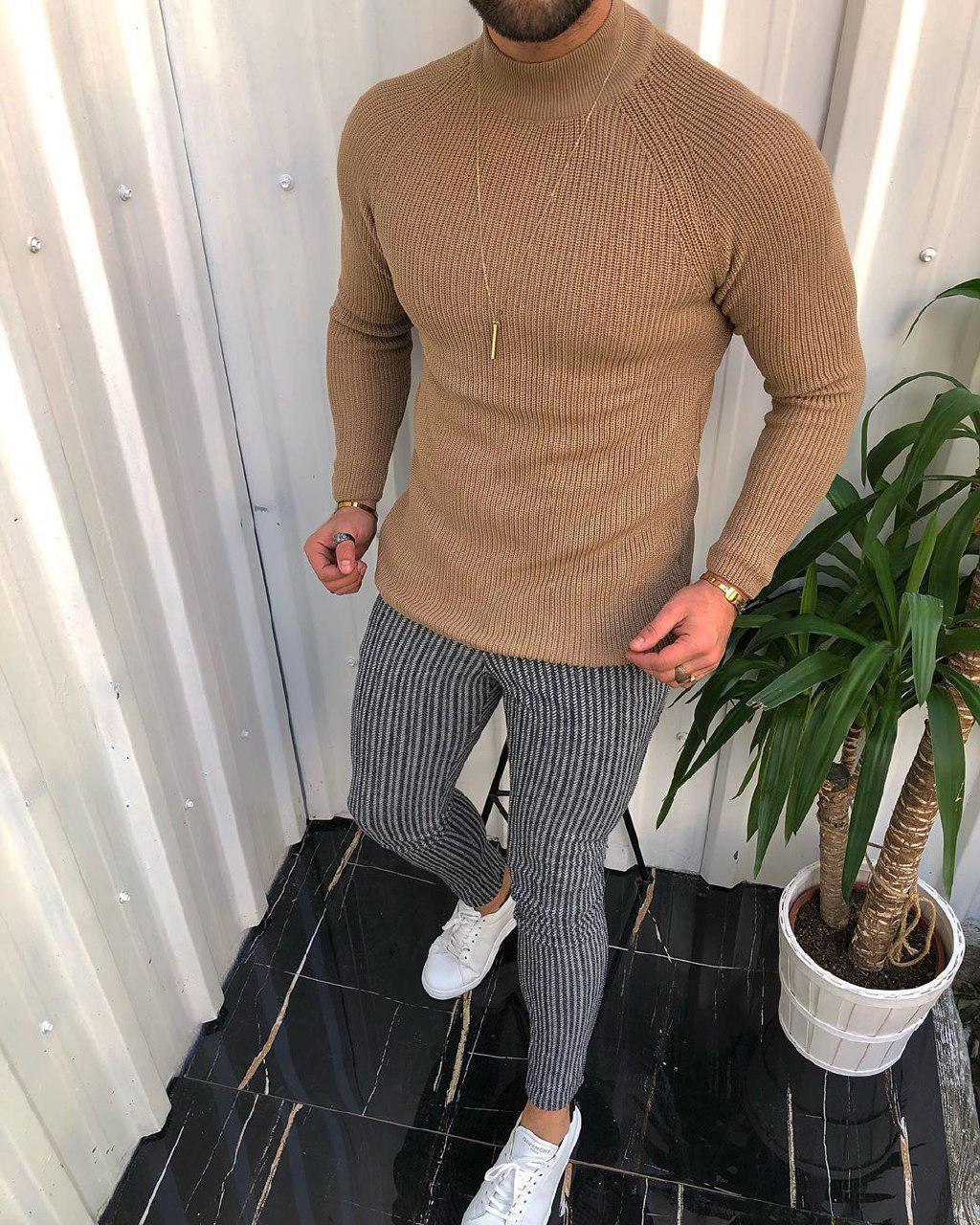 😜 Гольф- Мужской свитер  шерсть + хлопок (бежевый)