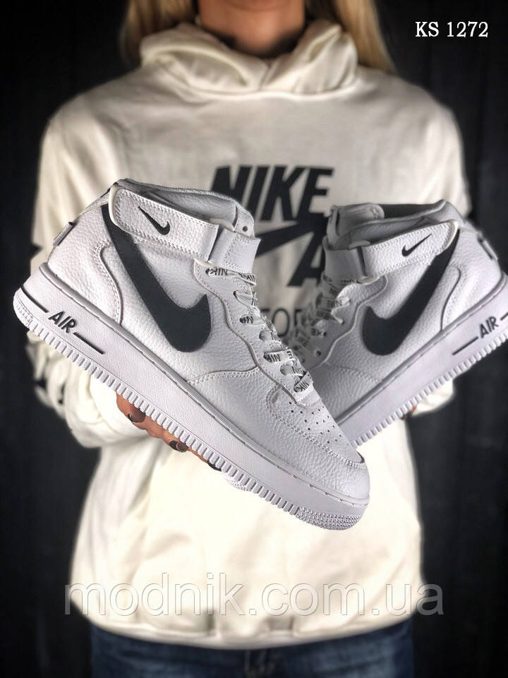 Мужские кроссовки Nike Air Force AF 1 High (бело/черные)