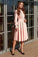 Элегантное платье миди с потайной молнией на спине с поясом персиковое, женские платья осень 2019