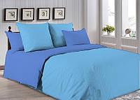 Комплект постельного белья Поплин небесно-синий + голубой