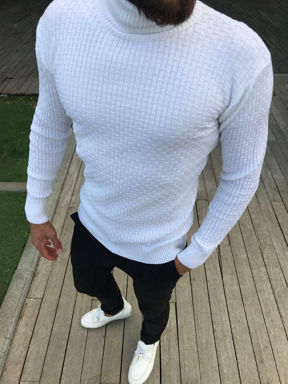 😜 Гольф - Мужской белый свитер (шерсть + хлопок)