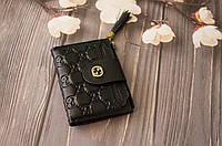 Кожаный женский кошелек Gucci / Женский клатч из натуральной кожи, цвет черный